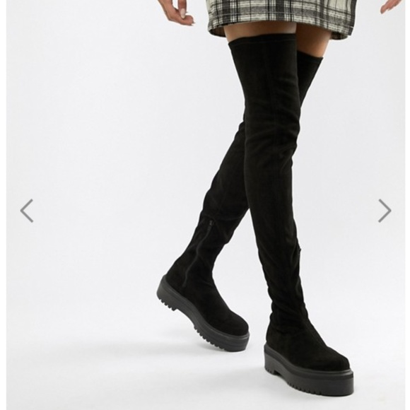 Asos Flat Chunky Over The Knee Boots